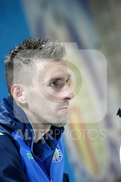 Getafe's Vicente Guaita in press conference after La Liga match.September 18,2015. (ALTERPHOTOS/Acero)