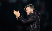 Lincoln City's assistant manager Nicky Cowley applauds the fans at the final whistle<br /> <br /> Photographer Chris Vaughan/CameraSport<br /> <br /> The EFL Checkatrade Trophy Northern Group H - Lincoln City v Wolverhampton Wanderers U21 - Tuesday 6th November 2018 - Sincil Bank - Lincoln<br />  <br /> World Copyright © 2018 CameraSport. All rights reserved. 43 Linden Ave. Countesthorpe. Leicester. England. LE8 5PG - Tel: +44 (0) 116 277 4147 - admin@camerasport.com - www.camerasport.com