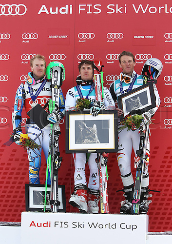 04.12.2011. Beaver Creek Colorado USA Ski Alpine FIS World Cup Giant slalom the men Award Ceremony Picture shows Ted Ligety USA Marcel Hirscher AUT and Fritz Dopfer ger