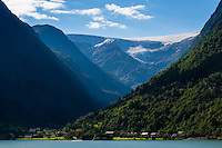 Norway, Odda. Folgefonna glacier seen from Sandvevatnet.