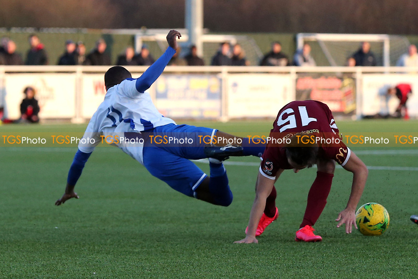 Alex Akrofi of Aveley and Danny Imray of Chelmsford City during Aveley vs Chelmsford City, Buildbase FA Trophy Football at Parkside on 8th February 2020