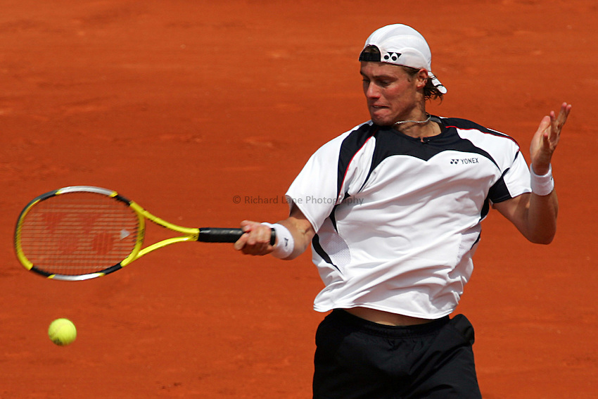 Photo: Iconsport/Richard Lane Photography..French Open, Roland Garros 2007. 31/05/2007..Lleyton Hewitt returns.