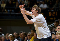 California fan calls for technical foul against Colorado to the referees after they miss a foul during the game between California and Colorado at Haas Pavilion in Berkeley, California on January 12th, 2012.   California defeated Colorado, 57-50.