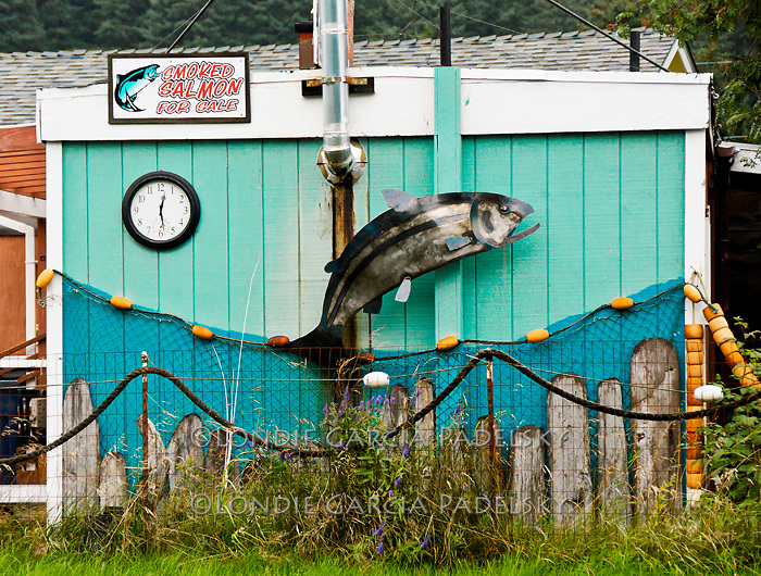 Roadside smokehouse at Kodiak Island, Alaska
