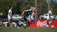 Sanford, FL - Saturday Oct. 14, 2017:  A Courage player is pressured as she dribbles up field during a US Soccer Girls' Development Academy match between Orlando Pride and NC Courage at Seminole Soccer Complex. The Courage defeated the Pride 3-1.
