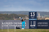 5th October 2017, The Old Course, St Andrews, Scotland; Alfred Dunhill Links Championship, first round; Carlos Pigem of Spain tees off on the thirteenth hole on the Old Course, St Andrews during the first round at the Alfred Dunhill Links Championship