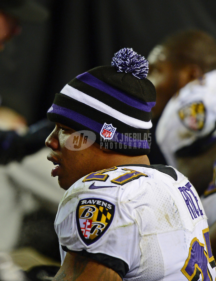 Jan 12, 2013; Denver, CO, USA; Baltimore Ravens running back Ray Rice (27) against the Denver Broncos during the AFC divisional round playoff game at Sports Authority Field.  Mandatory Credit: Mark J. Rebilas-