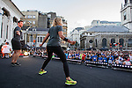 Warm up and pre-race activities before Bloomberg Square Mile Relay in London, United Kingdom. Photo by Ian Roman / Power Sport Images