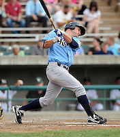 Outfielder Carlo Testa (44) of the Wilmington Blue Rocks, Carolina League affiliate of the Kansas City Royals, in a game against the Lynchburg Hillcats on June 15, 2011, at City Stadium in Lynchburg, Va. (Tom Priddy/Four Seam Images)