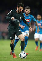 Football Soccer: UEFA Champions League Napoli vs Mabchester City San Paolo stadium Naples, Italy, November 1, 2017. <br /> Manchester City's Bernardo Silva during the Uefa Champions League football soccer match between Napoli and Manchester City at San Paolo stadium, November 1, 2017.<br /> UPDATE IMAGES PRESS/Isabella Bonotto