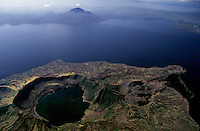 The active Lake Taal Volcano, the Crater in the foreground,aerial view, Philippines