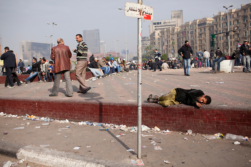 An Egyptian boy sleeps in the center of Cairo's Tahrir Square, November 20, 2011. Photo: Ed Giles.