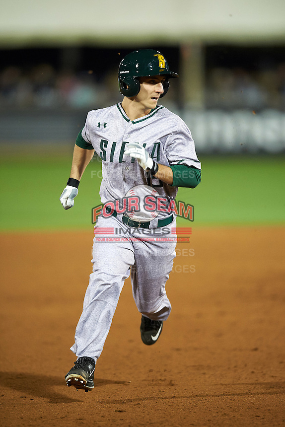 Siena Saints left fielder Chris Davignon (15) running the bases during a game against the UCF Knights on February 17, 2017 at UCF Baseball Complex in Orlando, Florida.  UCF defeated Siena 17-6.  (Mike Janes/Four Seam Images)