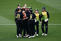 Ashton Agar of Australia is congratulated by teammates for the wicket of Colin de Grandhomme of New Zealand. New Zealand Black Caps v Australia, Final of Trans-Tasman Twenty20 Tri-Series cricket. Eden Park, Auckland, New Zealand. Wednesday 21 February 2018. © Copyright Photo: Anthony Au-Yeung / www.photosport.nz