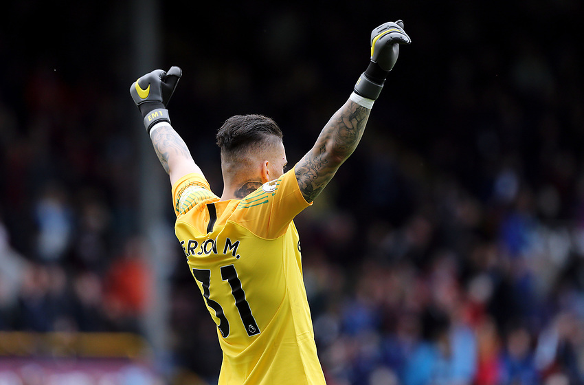 Manchester City's Ederson celebrates victory at the final whistle<br /> <br /> Photographer Rich Linley/CameraSport<br /> <br /> The Premier League - Burnley v Manchester City - Sunday 28th April 2019 - Turf Moor - Burnley<br /> <br /> World Copyright © 2019 CameraSport. All rights reserved. 43 Linden Ave. Countesthorpe. Leicester. England. LE8 5PG - Tel: +44 (0) 116 277 4147 - admin@camerasport.com - www.camerasport.com
