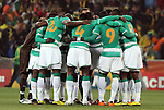 20 JUN 2010: Ivory Coast players huddle before the game. The Brazil National Team defeated the C'ote d'Ivoire National Team 3-1 at Soccer City Stadium in Johannesburg, South Africa in a 2010 FIFA World Cup Group G match.
