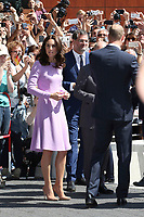 Britain's Prince William, Duke of Cambridge and his wife Kate, the Duchess of Cambridge, attend the Elbphilharmonie concert hall on July 21, 2017 in Hamburg, Germany.