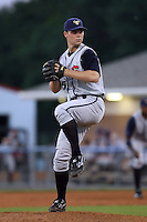 August 1 2008:  Pitcher Kyle McPherson (45) of the State College Spikes, Class-A affiliate of the Pittsburgh Pirates, during a game at Dwyer Stadium in Batavia, NY.  Photo by:  Mike Janes/Four Seam Images