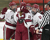 Hillary Crowe (Harvard - 8), Samantha Reber (Harvard - 12), Marissa Gedman (Harvard - 16) - The Harvard University Crimson defeated the visiting Boston University Terriers 3-1 on Friday, November 22, 2013, at Bright-Landry Hockey Center in Cambridge, Massachusetts.