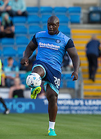 Adebayo Akinfenwa of Wycombe Wanderers warms up during the Sky Bet League 2 match between Wycombe Wanderers and Accrington Stanley at Adams Park, High Wycombe, England on 16 August 2016. Photo by Kevin Prescod.