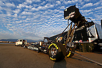 Feb 8, 2014; Pomona, CA, USA; NHRA top fuel dragster driver Bob Vandergriff Jr being towed after a qualifying pass during qualifying for the Winternationals at Auto Club Raceway at Pomona. Mandatory Credit: Mark J. Rebilas-