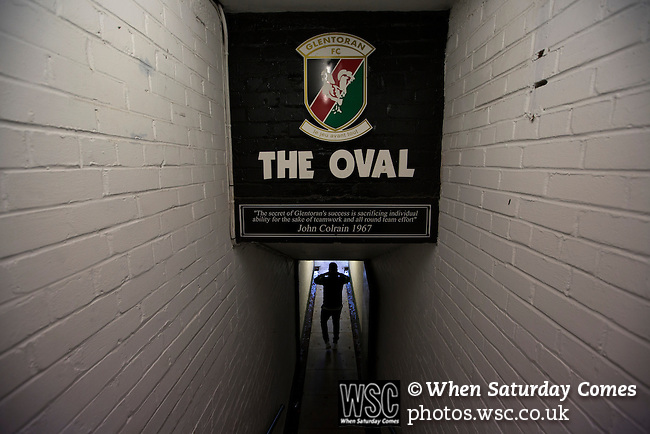 Glentoran 2 Cliftonville 1, 22/10/2016. The Oval, NIFL Premiership. Home striker Nacho Novo walking down the tunnel before a television interview on the pitch at The Oval, Belfast after Glentoran hosted city-rivals Cliftonville in an NIFL Premiership match. Glentoran, formed in 1892, have been based at The Oval since their formation and are historically one of Northern Ireland's 'big two' football clubs. They had an unprecendentally bad start to the 2016-17 league campaign, but came from behind to win this fixture 2-1, watched by a crowd of 1872. Photo by Colin McPherson.