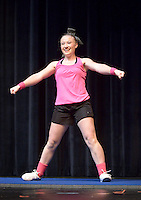 NWA Democrat-Gazette/BEN GOFF @NWABENGOFF<br /> Lauren Fox performs a tumbling routine on Thursday Sept. 24, 2015 during Talent Night of the Miss Bentonville High School Scholarship Pageant in the school's Arend Arts Center. Evening gown, finals and awards for the pageant will be held at the school on Saturday at 7:00p.m.