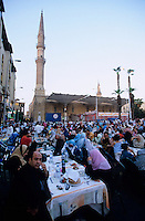 "Afrika Nordafrika ?gypten Kairo Cairo .Restaurants an der El-Hussein Moschee im Stadtteil Khan el Khalili , Menschen beim Iftar Fest dem Fastenbrechen im Fastenmonat Ramadan  - Religion Islam Moslems Fasten Feiertag Freitagsgebet Essen Restaurant Megacity Metropole essen Festtafel xagndaz | .Africa north africa arabia Egypt Cairo  .El-Hussein mosque in Khan el Khalili , people celebrate Iftar the fast break in holy month Ramadan - religion muslim Islam Food eat .| [ copyright (c) Joerg Boethling / agenda , Veroeffentlichung nur gegen Honorar und Belegexemplar an / publication only with royalties and copy to:  agenda PG   Rothestr. 66   Germany D-22765 Hamburg   ph. ++49 40 391 907 14   e-mail: boethling@agenda-fototext.de   www.agenda-fototext.de   Bank: Hamburger Sparkasse  BLZ 200 505 50  Kto. 1281 120 178   IBAN: DE96 2005 0550 1281 1201 78   BIC: ""HASPDEHH"" ] [#0,26,121#]"