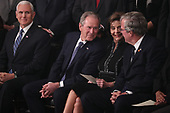 U.S. Vice President Mike Pence, former President George W. Bush, former first lady Laura Bush and former Florida Governor Jeb Bush attend a service for former President George H.W. Bush as his body lies in state in the U.S. Capitol Rotunda in Washington, U.S., December 3, 2018. REUTERS/Jonathan Ernst/Pool