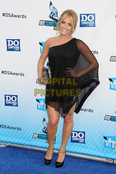 Cassie Scerbo.The 2012 Do Something Awards at the Barker Hangar in Santa Monica, California, USA..August 19th, 2012.full length black sheer one shoulder silver clutch bag hand on hip.CAP/ADM/BP.©Byron Purvis/AdMedia/Capital Pictures.