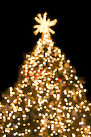Christmas Tree Illuminated at Night, Soft Focus/Defocused Effect....Bryant Park, New York City, New York State, USA