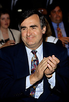 Montreal (Qc) CANADA - File Photo - May 1996 -<br /> <br /> Lucien Bouchard,  Leader Parti Quebecois (from Jan 29, 1996 to March 2, 2001). seen in a May 1996 file photo<br /> <br /> After the Yes side lost the 1995 referendum, Parizeau resigned as Quebec premier. Bouchard resigned his seat in Parliament in 1996, and became the leader of the Parti Qu&Egrave;b&Egrave;cois and premier of Quebec.<br /> <br /> On the matter of sovereignty, while in office, he stated that no new referendum would be held, at least for the time being. A main concern of the Bouchard government, considered part of the necessary conditions gagnantes (&quot;winning conditions&quot; for the feasibility of a new referendum on sovereignty), was economic recovery through the achievement of &quot;zero deficit&quot;. Long-term Keynesian policies resulting from the &quot;Quebec model&quot;, developed by both PQ governments in the past and the previous Liberal government had left a substantial deficit in the provincial budget.<br /> <br /> Bouchard retired from politics in 2001, and was replaced as Quebec premier by Bernard Landry.