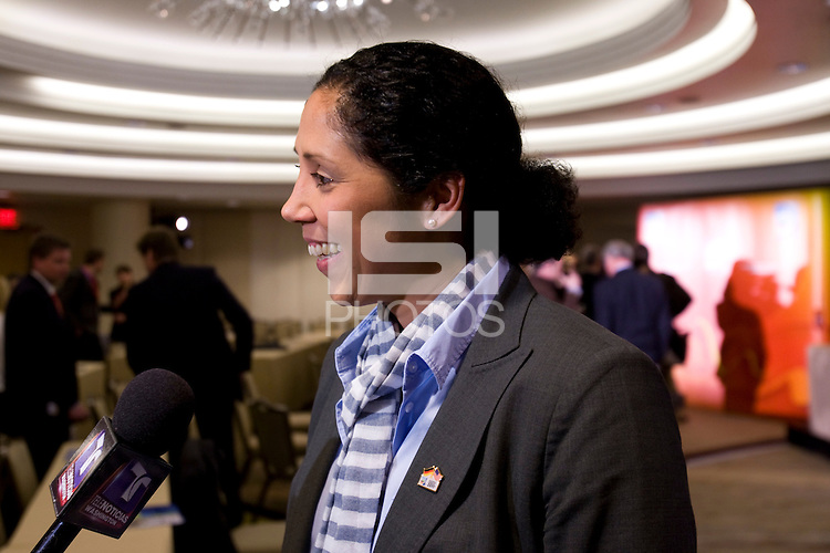 Steffi Jones. Various speakers took the stage at the FIFA Women's World Cup 2011 promotional tour at the Westin Grand in Washington, DC...