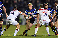 Tom Homer of Bath Rugby takes on the Leicester Tigers defence. Anglo-Welsh Cup match, between Bath Rugby and Leicester Tigers on November 10, 2017 at the Recreation Ground in Bath, England. Photo by: Patrick Khachfe / Onside Images