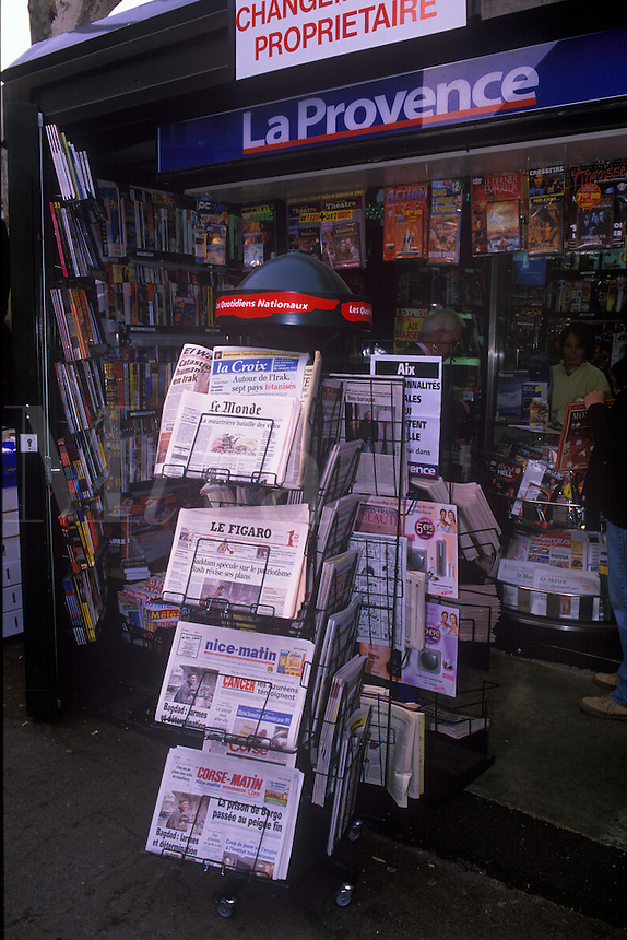Newstand in Aix-en-Provence. France