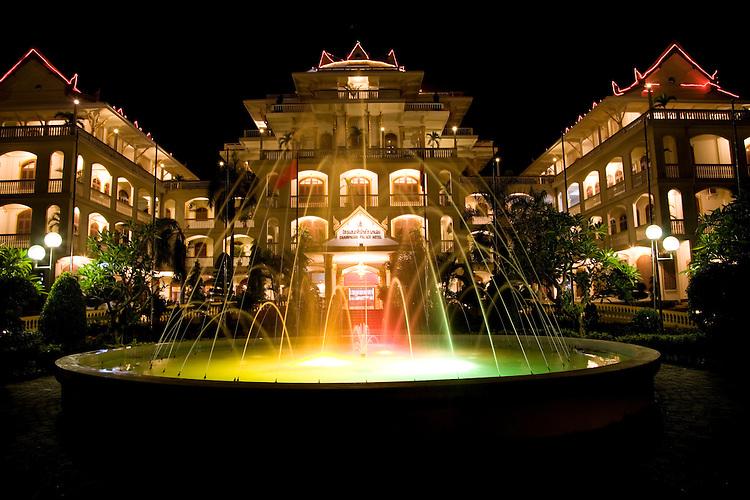 Evening lights at water fountain at Champasak Palace,Pakse,Laos