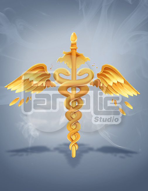 Illustration of broken caduceus symbol