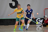 Australia&rsquo;s Hannah Quaife and Japan&rsquo;s Natsumi Yokota in action during the World Floorball Championships 2017 Qualification for Asia Oceania Region Final - Australia v Japan at ASB Sports Centre , Wellington, New Zealand on Sunday 5 February 2017.<br /> Photo by Masanori Udagawa<br /> www.photowellington.photoshelter.com.