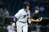 Brady Conlan (9) of the Winston-Salem Dash hustles down the first base line against the Myrtle Beach Pelicans at BB&T Ballpark on May 11, 2017 in Winston-Salem, North Carolina.  The Pelicans defeated the Dash 9-7.  (Brian Westerholt/Four Seam Images)