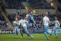 Sam Saunders of Wycombe Wanderers goes up for the ball during the The Checkatrade Trophy - EFL Trophy Semi Final match between Coventry City and Wycombe Wanderers at the Ricoh Arena, Coventry, England on 7 February 2017. Photo by Andy Rowland.