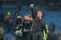 Celtic Manager Brendan Rogers gives supporters thumb up during the UEFA Champions League GROUP match between Manchester City and Celtic at the Etihad Stadium, Manchester, England on 6 December 2016. Photo by Andy Rowland.