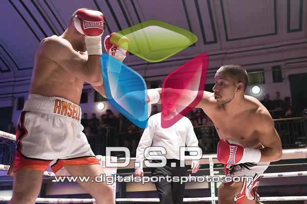 Tom Ansell vs Radoslav Mitev 4x3 - Welterweight contest During Goodwin Boxing - Strike Force. Photo by: Simon Downing.<br /> <br /> Saturday March 10th 2018 - York Hall, Bethnal Green, London, United Kingdom.