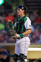 Dayton Dragons catcher Tyler Stephenson (9) during a game against the Cedar Rapids Kernels on May 10, 2017 at Fifth Third Field in Dayton, Ohio.  Cedar Rapids defeated Dayton 6-5 in ten innings.  (Mike Janes/Four Seam Images)