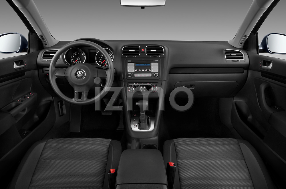 Straight dashboard view of a 2010 Volkswagen Jetta SportWagen S.
