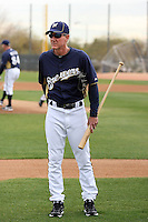Ron Roenicke #10, new manager of the Milwaukee Brewers, supervises spring training workouts at the Brewers complex on February 18, 2011  in Phoenix, Arizona. .Photo by Bill Mitchell / Four Seam Images.