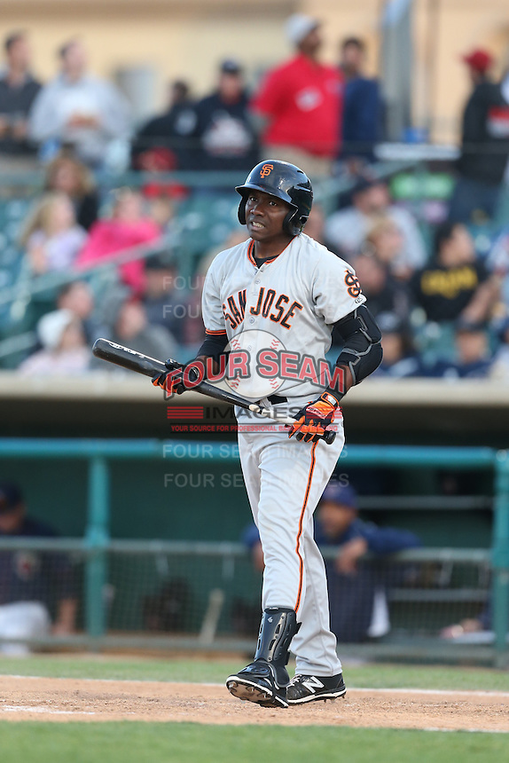 Jesus Galindo (12) of the San Jose Giants bats during a game against the Lancaster JetHawks at The Hanger on April 11, 2015 in Lancaster, California. San Jose defeated Lancaster, 8-3. (Larry Goren/Four Seam Images)