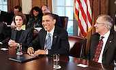 Washington, DC - December 9, 2009 -- United States President Barack Obama speaks at a meeting with bipartisan Members of Congress at the White House on Wednesday, December 9, 2009 in Washington, DC.  Obama met with Congressional leaders to discuss jobs and the economy.  From left to right: U.S. House Speaker Nancy Pelosi (Democrat of California), President Obama, and U.S. Senate Majority Leader Harry Reid (Democrat of Nevada)..Credit: Olivier Douliery / Pool via CNP