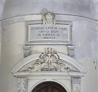 Plaque in the Vestibule over the staircase entrance, marking the restoration work of 1855, in the Phare de Cordouan or Cordouan Lighthouse, built 1584-1611 in Renaissance style by Louis de Foix, 1530-1604, French architect, located 7km at sea, near the mouth of the Gironde estuary, Aquitaine, France. This is the oldest lighthouse in France. There are 4 storeys, with keeper apartments and an entrance hall, King's apartments, chapel, secondary lantern and the lantern at the top at 68m. Parabolic lamps and lenses were added in the 18th and 19th centuries. The lighthouse is listed as a historic monument. Picture by Manuel Cohen