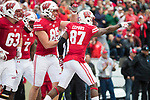 Wisconsin Badgers wide receiver Quintez Cephus (87) celebrates a touchdown during an NCAA College Football Big Ten Conference game against the Purdue Boilermakers Saturday, October 14, 2017, in Madison, Wis. The Badgers won 17-9. (Photo by David Stluka)