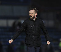 Luton Town manager Nathan Jones shows his delight after his teams 1-0 win at Wycombe during the Sky Bet League 2 match between Wycombe Wanderers and Luton Town at Adams Park, High Wycombe, England on 6 February 2016. Photo by Liam Smith.